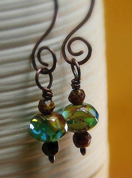 Caramel Skies Czech Glass Beaded Copper by AllowingArtDesigns