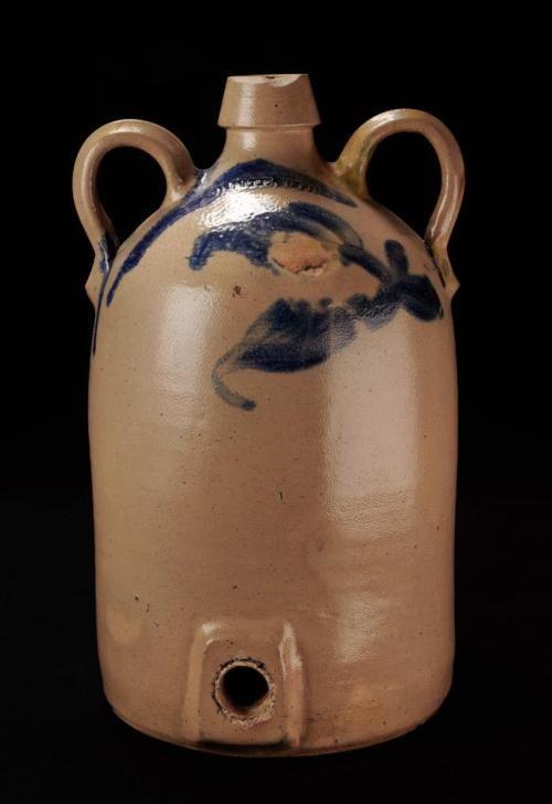 Unique Double Handled Jug With Spigot Hole Old Crocks Stoneware Primitive Decorating
