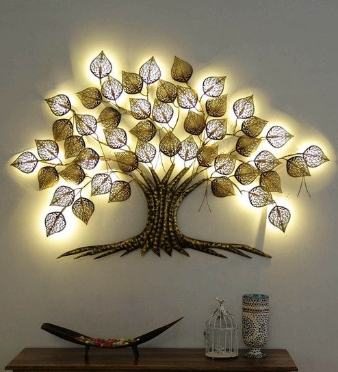 Buy Gold Metal Decorative With Led Wall Art By Sugandha Online Floral Metal Art Metal Wall Art Home Decor Pepperfry Product Hanging Wall Decor Metal Tree Wall Art Metal Tree