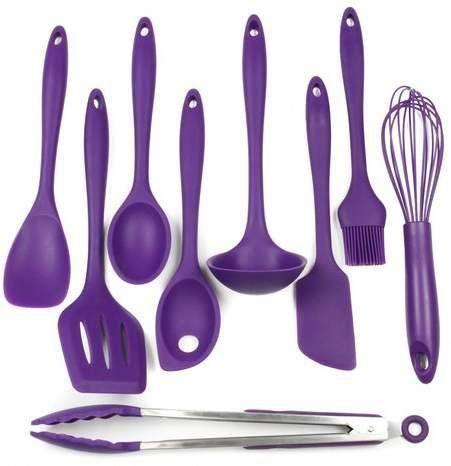 Chef Craft 9 Piece Kitchen Utensil Set Purple Kitchen Accessories Silicone Kitchen Kitchen Utensil Set