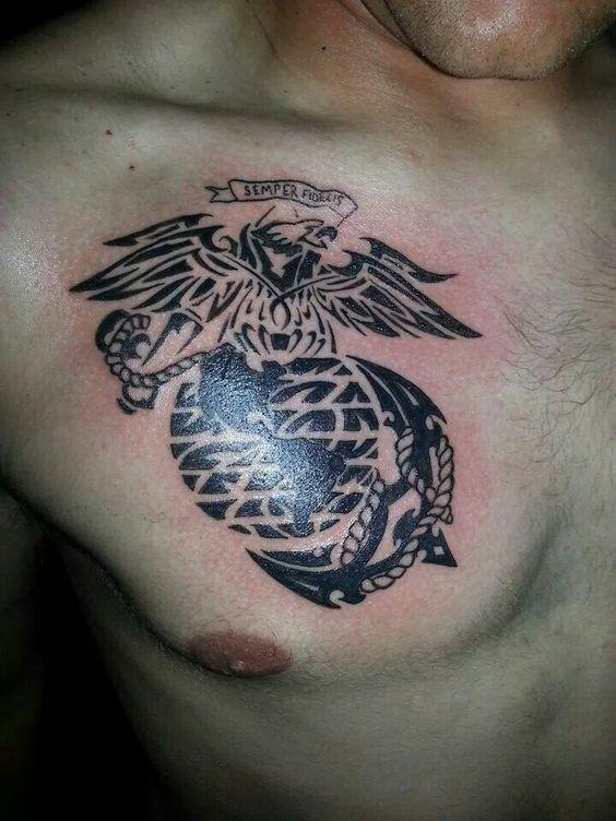 marine ega tribal tattoo in the skin pinterest tribal tattoos and tattoos and body art. Black Bedroom Furniture Sets. Home Design Ideas