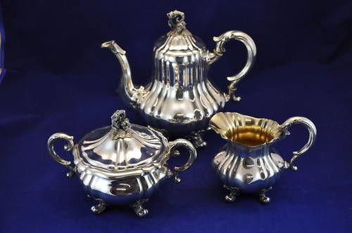 Bruckmann 3teiliges Kaffeeservice 925er Sterling Silber