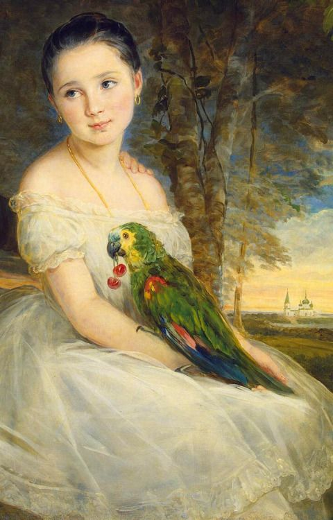 Children with a Parrot by Christina Robertson (detail).: