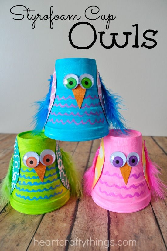 Turn small Styrofoam cups into a cute and colorful Owl Kids Craft.: