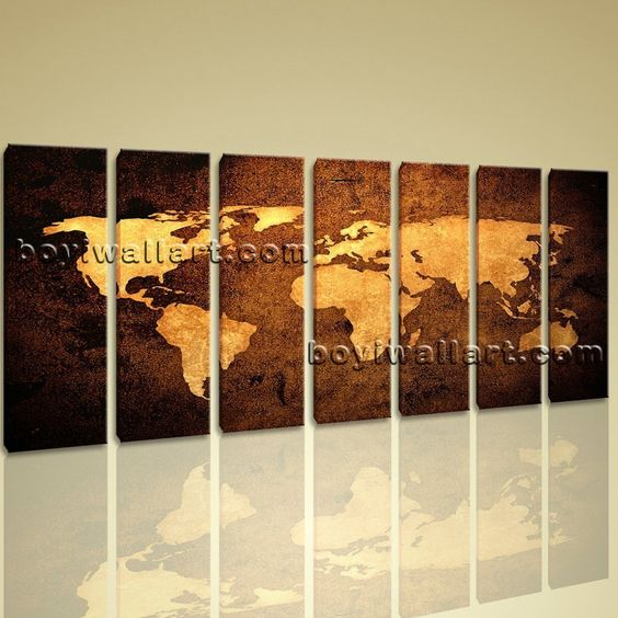 "Xxl Large Contemporary Home Decor Abstract Wall Art Atlas Print Canvas World Map Extra Large Wall Art, Gallery Wrapped, by Bo Yi Gallery 76""x36"". Xxl Large Contemporary Home Decor Abstract Wall Art Atlas Print Canvas World Map Subject : map Style : Contemporary Panels : 7 Detail Size : 10""x36""x7 Overall Size : 76""x36"" = 193cm x 91cm Medium : Giclee Print On Canvas Condition : Brand New Frames : Gallery wrapped [FEATURES] Lightweight and easy to hang. High revolution giclee..."
