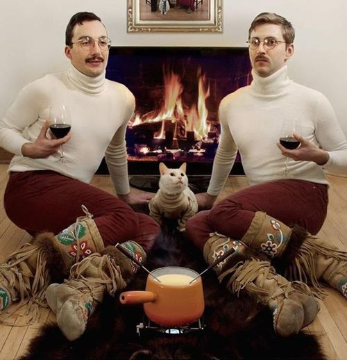 Romantic fireplace - check, cheese fondue - check, custom Uggs - check, vintage burgundy - check, Fluffy the cat - check...: