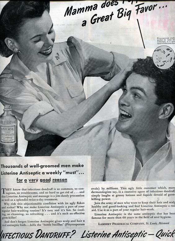 FINNFEMME: Scrub Your Man's Infectious Dandriff Away With Listerine! 1946 ad