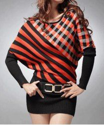 $20.38 Fashion Scoop Collar Color Block Twill Belted Batwing Sleeves Knitting Dress