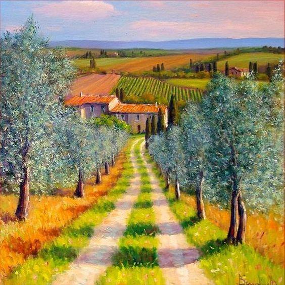 Mediterranean Oil Paintings--Country Path