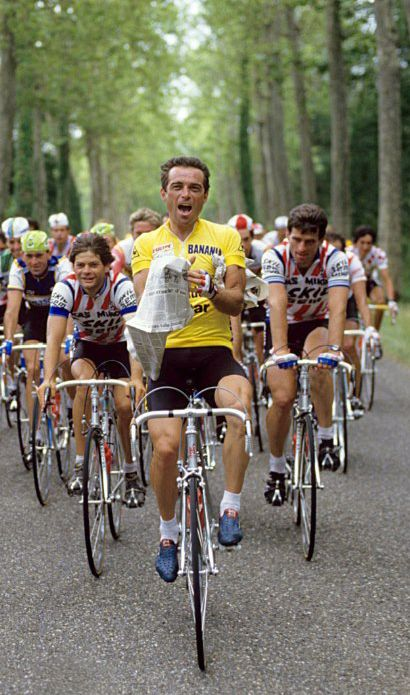 Bernard Hinault on the final stage of the 1985 Tour de France for which he would take the overall victory.
