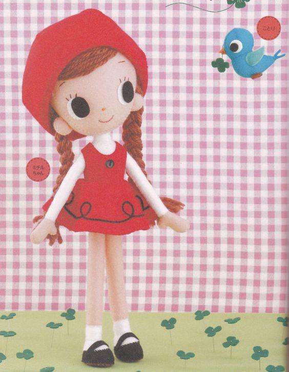 Retro Showa Era Kawaii Girl Felt Rag Pose Doll by DollyAndPaws, $3.50