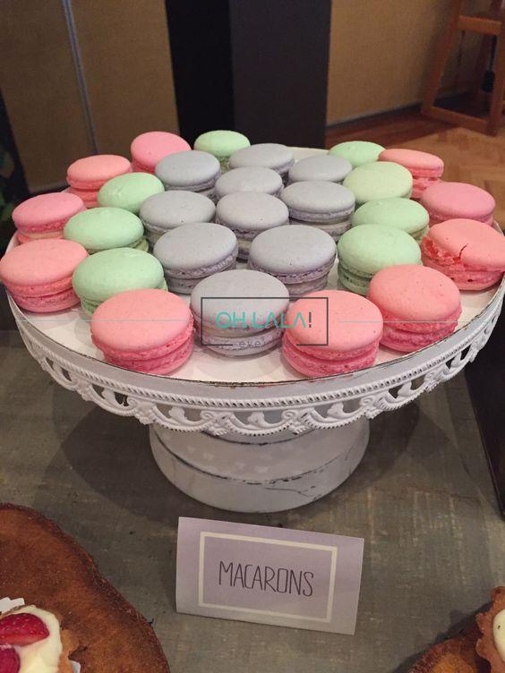 Macarons Franceses para una primera comunión en tonos menta, lila y rosa.  Cotizaciones: info@ohlala-eventos.com