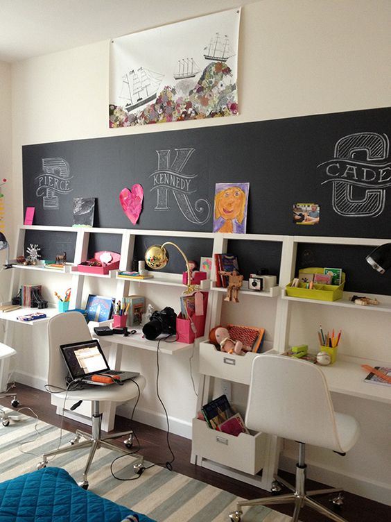 Love this wall of desks. It would be great in the basement and would transition from kids to teens.: