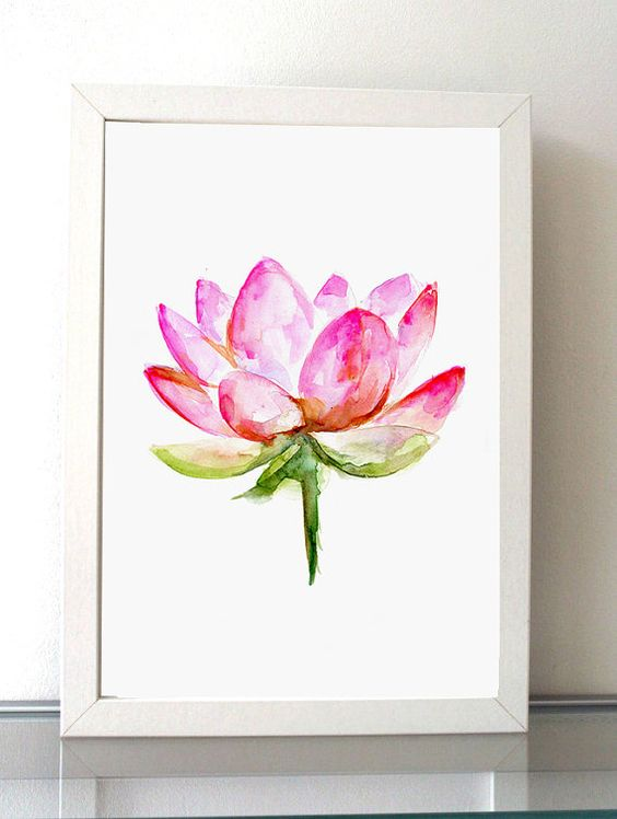 Pink Lotus Painting Lotus Art Giclee Print bright by Zendrawing