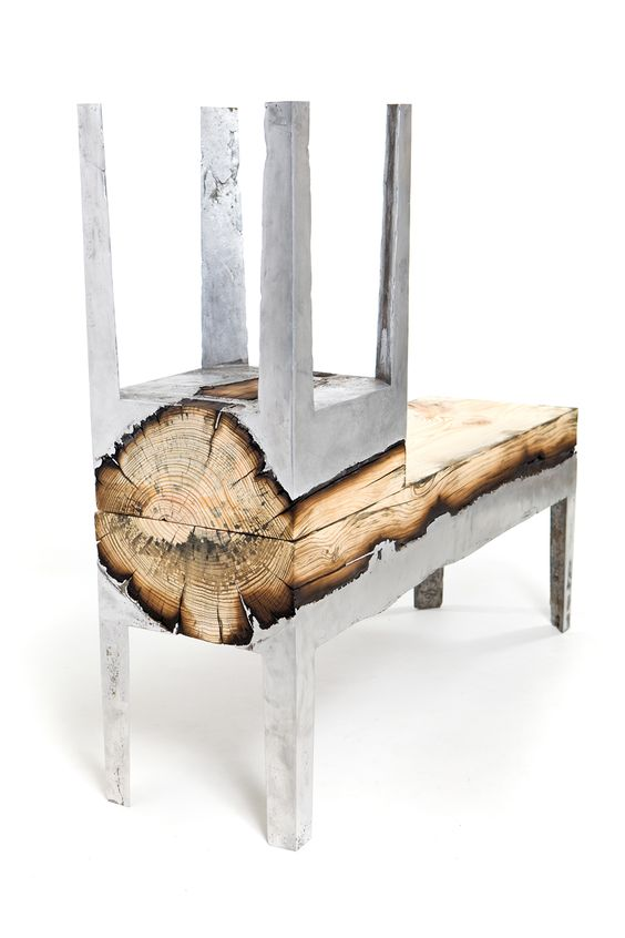 "#ARTmetal © ideas. www.aias.se ""Wood Casting"" Furniture by Hilla Shamia Furniture   combining cast aluminium and wood. The negative factor of burnt wood is transformed into aesthetic and emotional value by preservation of the natural form of the tree trunk, within explicit boundaries. The general, squared form intensifies the artificial feeling, and at the same time keeps the memory of the material. http://www.hillashamia.com/?%2Fprojects%2Fwood%2F"