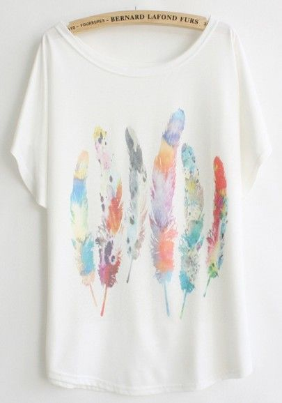 White Feather Print Bat Sleeve Cotton Blend T-Shirt