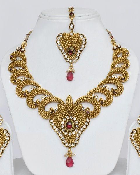New Necklace Earring Set Gold Polki Jewellery Indian: Gold Plated Polki Wedding Jewellery