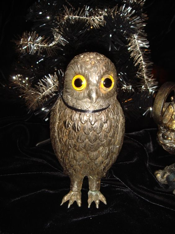 Antique Owl Shaker Statue