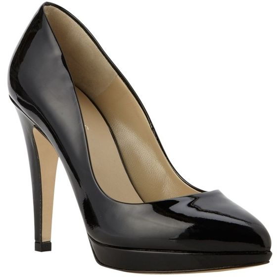 Hobbs Jerilyn Patent Leather Stiletto Heels Court Shoes, Black ❤ liked on Polyvore