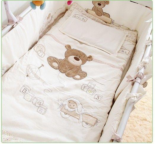 Beforderung 7 Stucke Stickerei Baby Bettwasche Set Fur Krippe