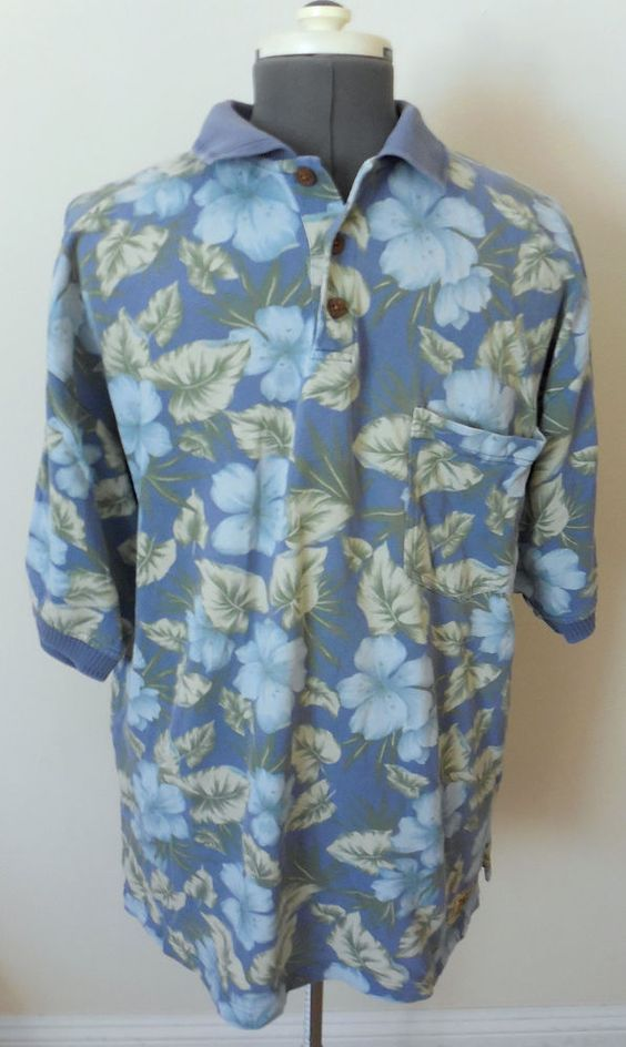 Mens Tommy Bahama Polo Knit Pullover Hawaiian Shirt Sz Large Floral Blue #TommyBahama #Hawaiian