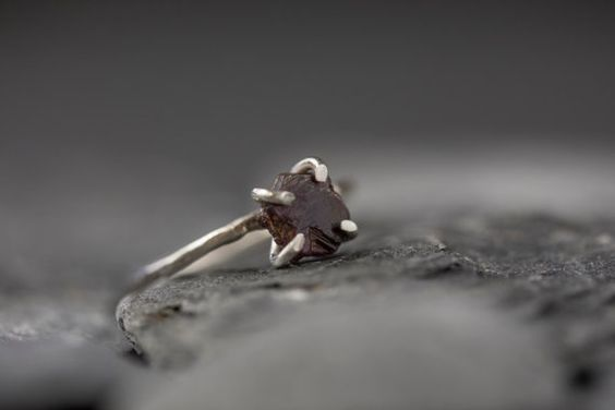 Raw Ruby Ring Sterling Silver Ring Red Raw Crystal by SlothAndCo