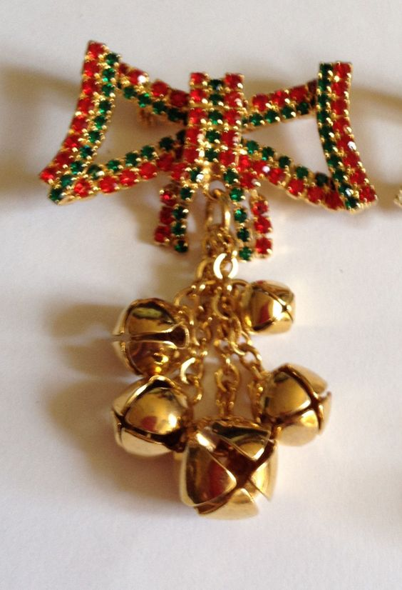 Vintage Christmas Rhinestone Bow with Jingle Bells Pin Brooch Choose Color | eBay