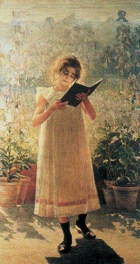 Young girl reading, by Giovanni Sottocornola (Italian, 1855-1917)