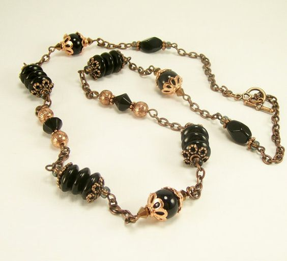 Black Gemstone Glass and Copper Long Beaded by BobblesByCarol