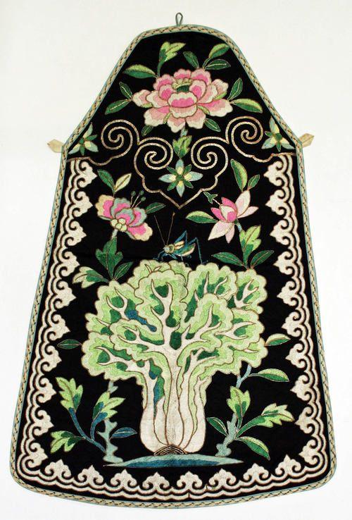 Apron (Chinese) ca. 1800-1940 silk, cotton, metal