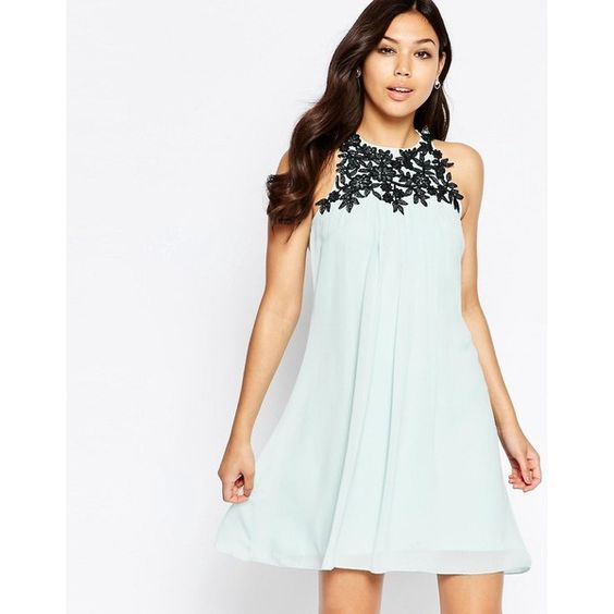 Little Mistress High Neck Dress With Lace Detail (1.269.390 VND) ❤ liked on Polyvore featuring dresses, blue, white zipper dress, white loose dress, blue white dresses, loose fitting dresses and blue dress