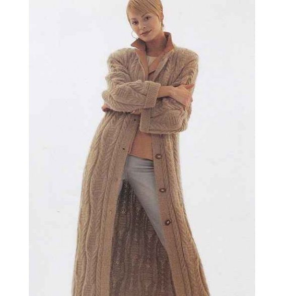 Knitting Pattern For Long Sweater Coat : long sweater coat Womens Tunic Sweater & Long Coat Knitting Patter...