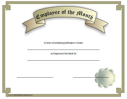 This silver grey certificate recognizes an employee of the for Employee of the month certificate template with picture