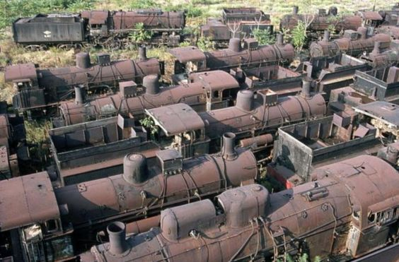 Rusty steam locomotives abandoned at a locomotive graveyard at Thessaloniki, in Greece: