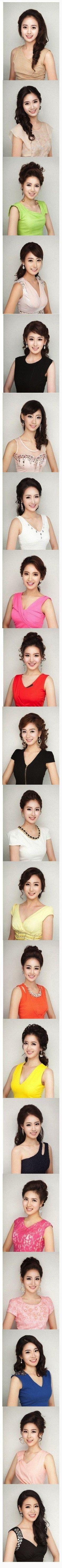 Koreas plastic surgery mayhem is finally converging on the same face. Here are the miss korea 2013 contestants. ///   /// Estas son todas las participantes de Miss Korea 2013... si, son diferentes personas, pero tal vez el mismo cirujano plastico.