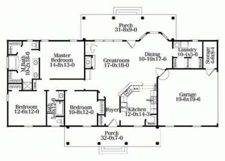 57 Ideas For Bedroom Layout Floor Plans Rectangle Rectangle House Plans One Level House Plans Single Level House Plans