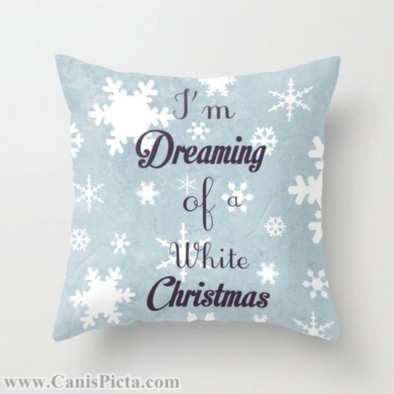 """Christmas Graphic Print 16"""" x 16"""" Throw Pillow Cover """"I'm Dreaming of a White Christmas"""" Decorate Holiday Blue Navy Snowflakes Snow Flakes"""