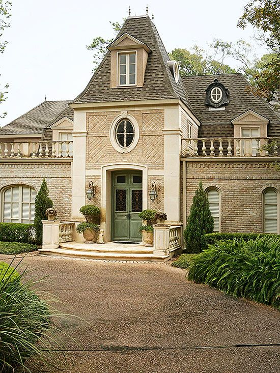 Double front doors transom windows and facades on pinterest for French country architecture characteristics