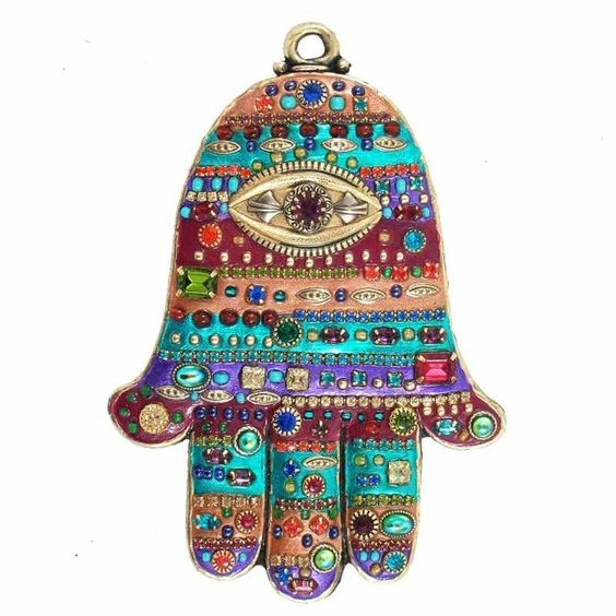Michal Golan Brass Electroplated Multicolor Enamel and Crystals Hamsa
