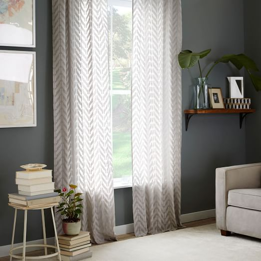 Curtains Ideas chevron curtains grey : Sheer Chevron Curtain - Frost Gray | West Elm $89 per panel ...