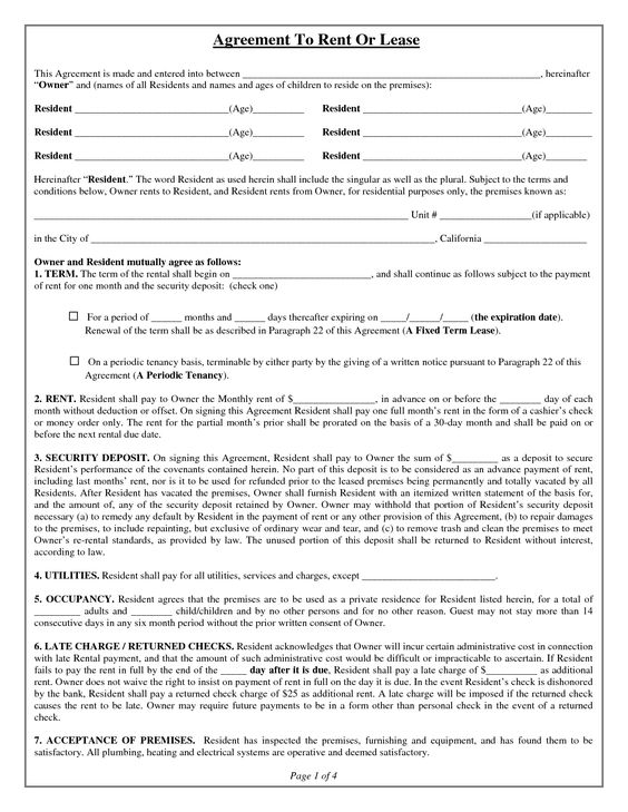 Free Printable Rental Application Legal Forms Documents