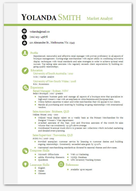 cool looking resume modern microsoft word resume template - yolanda smith