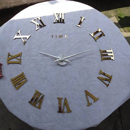 AUDEW Luxury Art Clock DIY 3D Wall Clock Roman Numerals Large Size Mirrors Surface(gold)