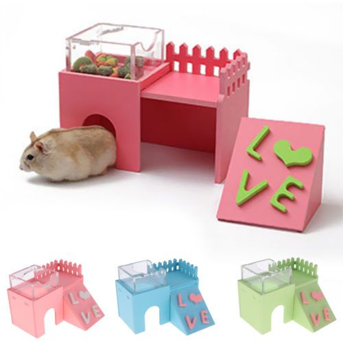 Details About 3 In 1 Wood House Hamster Hut Cage Accessories