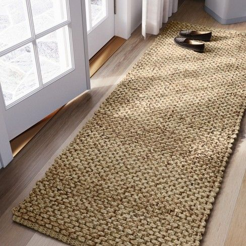 Woven Runner Rug Solid Natural