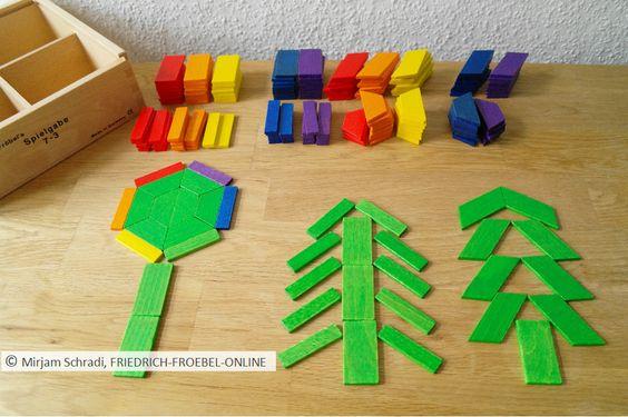 Spielgaben:  Bäume, gelegt aus den geometrischen Formen der Spielgabe 7 (Legespiel nach Froebel)  geometrische Formen: Trapez, Parallelogramm, Rechteck Spielidee für Kinder!
