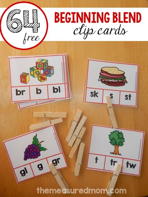 Free clip cards for beginning blends | The Measured Mom