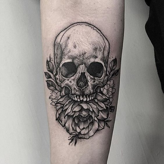 Thomas Bates tattoo - Skull with peony and small blossoms. Thankyou Sarah!  #skull #tattoo #etching #gothic #fineline #blackwork #blackworkerssubmission #btattooing #dotwork #flowers