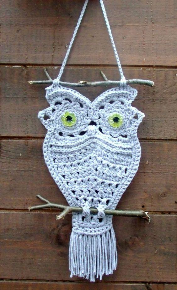 Crochet Owl Hanger In Macrame Style Instant Download Pdf