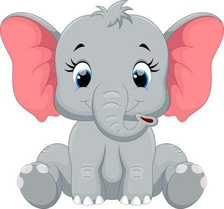 Stock Vector Con Imagenes Animales Animados Tiernos Elefante